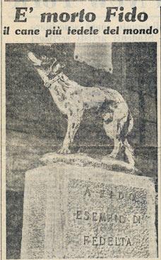 Particolare dell'articolo di Amilcare Giovannini su la Nazione ( giugno 1958) che ricorda la morte di Fido.