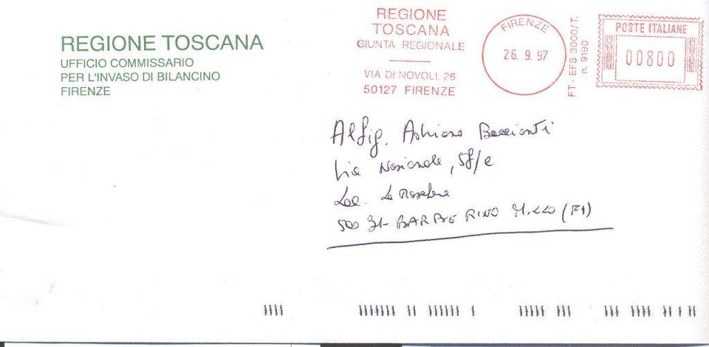 Una delle buste indirizzate a Baccianti dall'Ufficio del Commissario. Si noti l'intestazione...