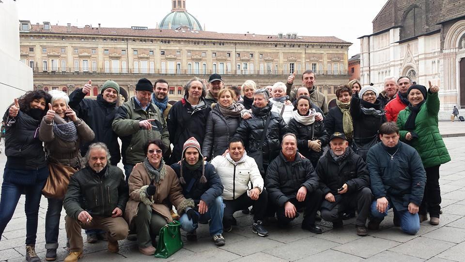 I dipendenti Tecnol dopo l'aggiudicazione dell'asta a Gilardoni. gennaio 2015