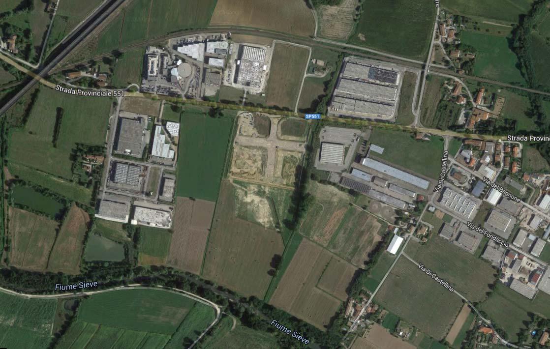 La zona di La Torre Petrona dove sorgerà l'impianto a biomasse (al centro)