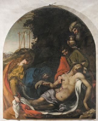 """""""Deposizione"""" – Scuola di Ludovico Cardi, detto il Cigoli (sec. XVII) olio su tela, 210 x 185 – tela centinata priva di cornice"""