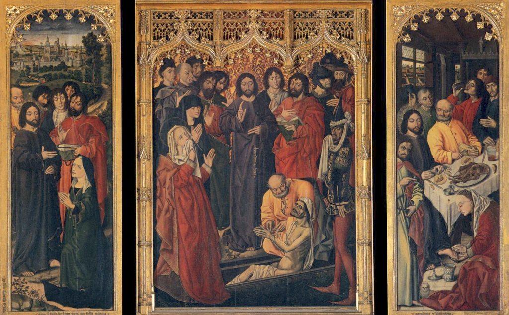 """Nicolas Froment (1461)- Il trittico - """"Resurrezione di Lazzaro"""" (al centro), """"Gesù in casa di Marta"""" (a sinistra) e """"Lavanda dei piedi"""" (a destra) olio su tavola – 175 x 134 (centro), 176 x 66 (ognuno dei due sportelli) Firenze, Galleria degli Uffizi"""