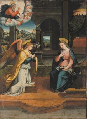 """""""Annunciazione"""" – attribuito ad Antonio Del Ceraiolo (sec. XVI) olio su tavola, 215 x 75"""