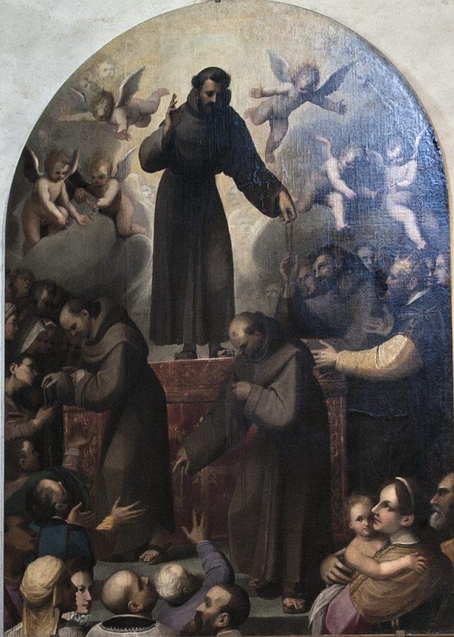 """""""Gloria di San Francesco – Allegoria del cordone di San Francesco"""" Jacopo Ligozzi (sec. XVI) - Olio su tela, 220 x 70 (foto di Andrea Lapi © - riproduzione vietata)."""