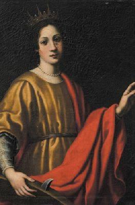 """Santa Caterina D'Alessandria"" – olio su tela, 100 x 70 attribuito all'ambiente di Matteo Rosselli (sec. XVII)"