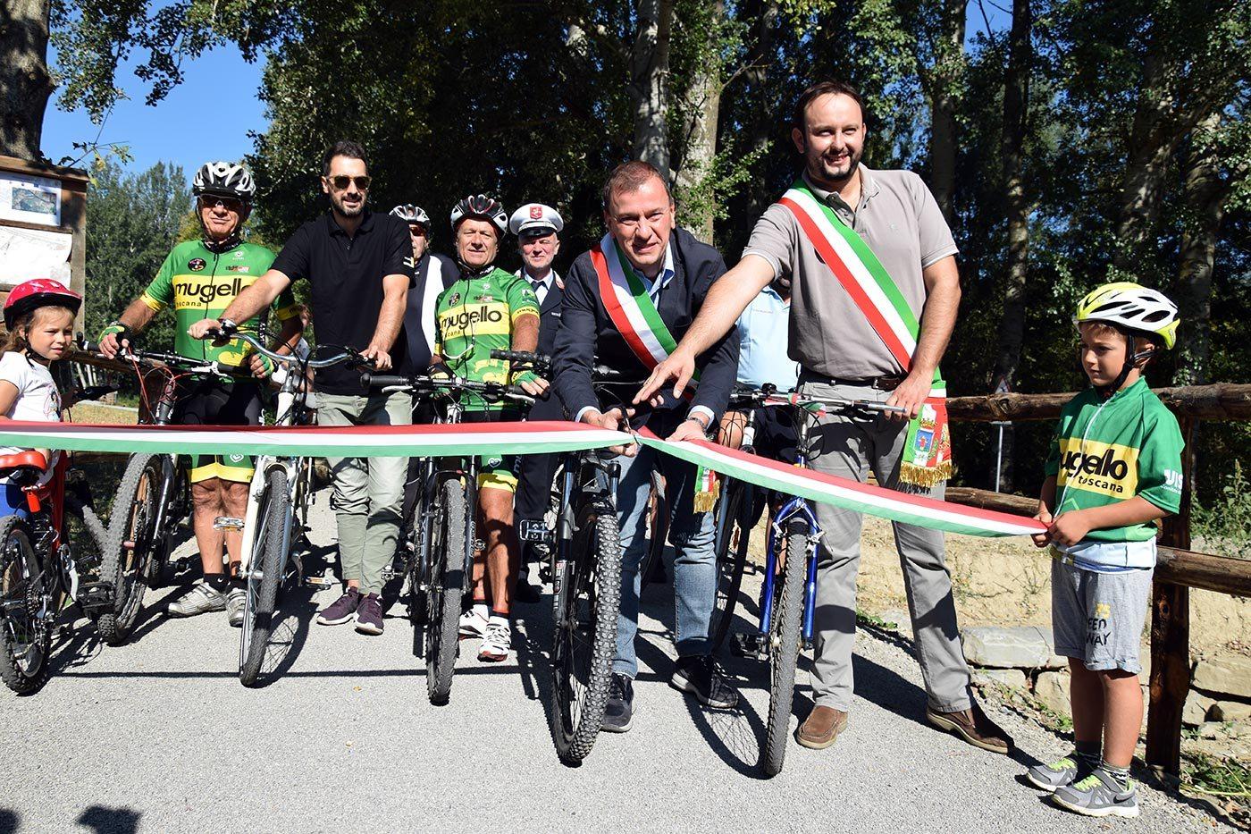 L'inaugurazione della pista ciclabile tra Borgo e Larciano