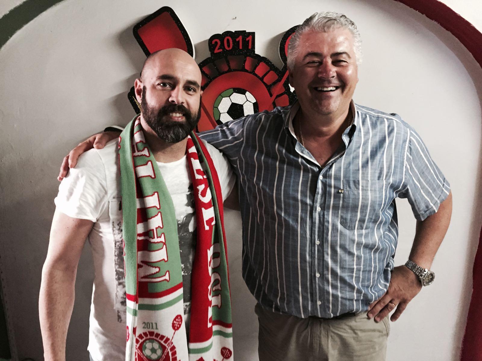 Il nuovo allenatore Sebastiano Esposito con il presidente Sandro Quartani