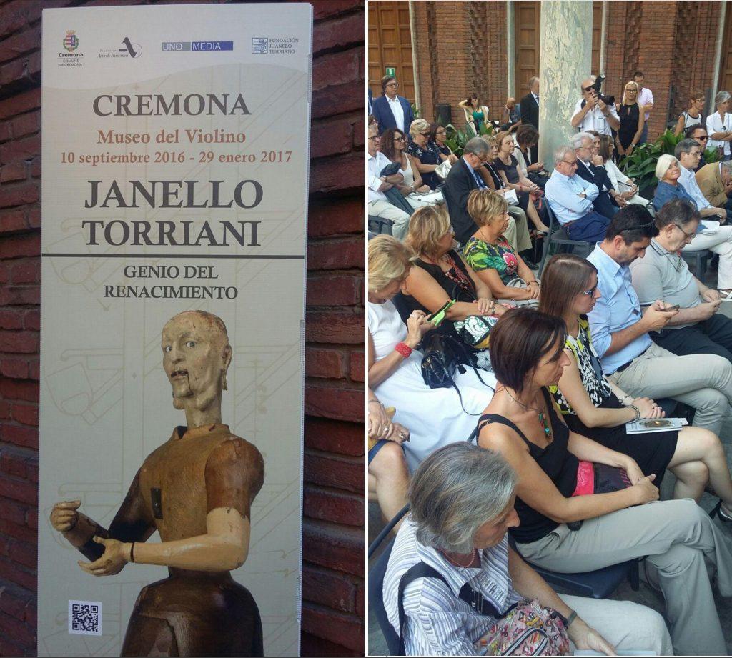 Cremona, presentazione mostra Janello Torriani. Nell'immagine di destra la delegazione di Scarperia (immagini F.N.)