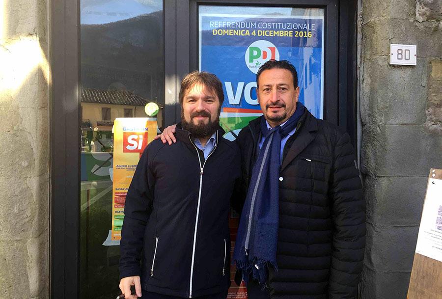 I sindaci Stefano Passiatore di Dicomano e Alessandro Manni di San Godenzo