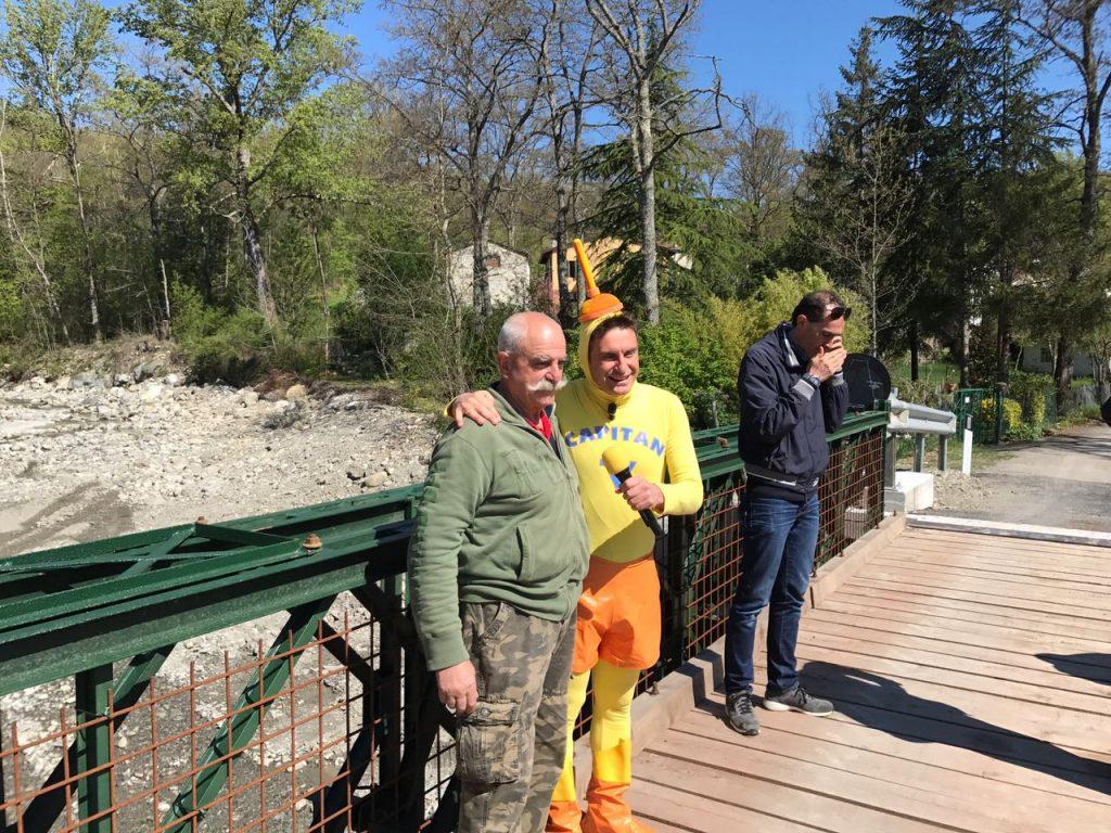 Capitan Ventosa a Firenzuola, sul ponte della Badia ricostruito