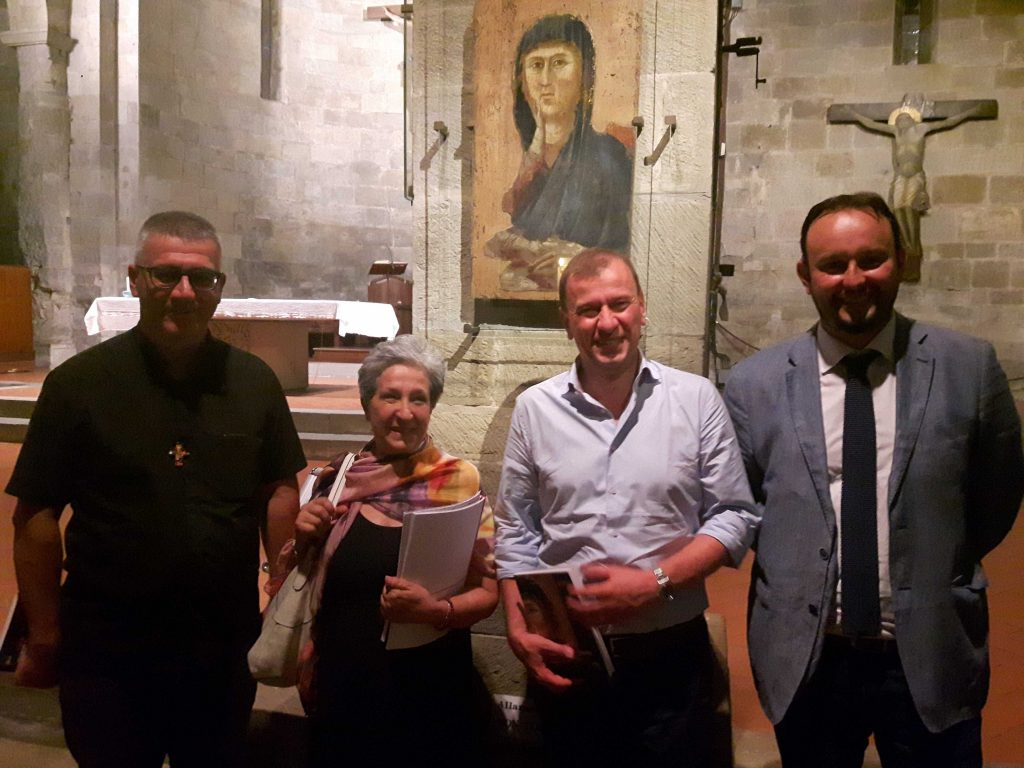 Da destra: il sindaco Paolo Omoboni, l'assessore alla cultura Federico Ignesti, Zaccheddu della Sovrintendenza fiorentina, Don Maurizio Tagliaferri, pievano di Borgo San Lorenzo