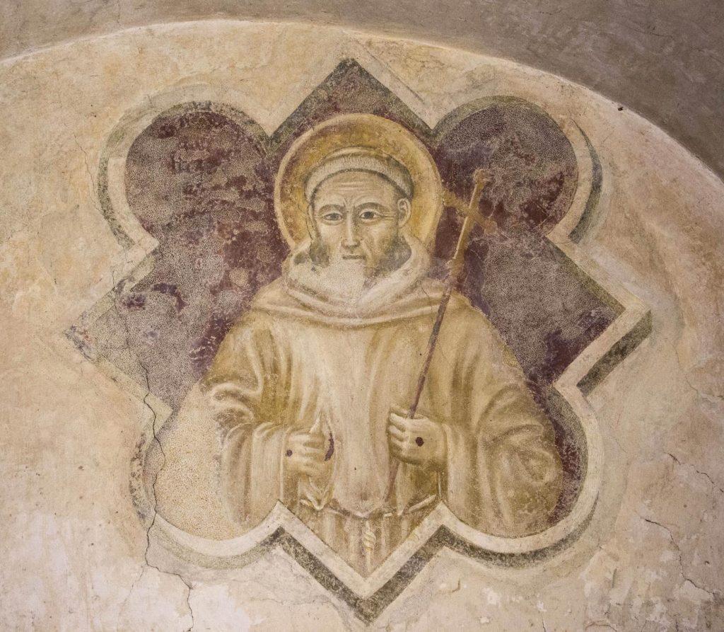 """""""San Francesco"""" - autore sconosciuto – affresco (sec. XIV, circa) Sagrestia della chiesa nel convento di San Bonaventura al Bosco ai Frati"""