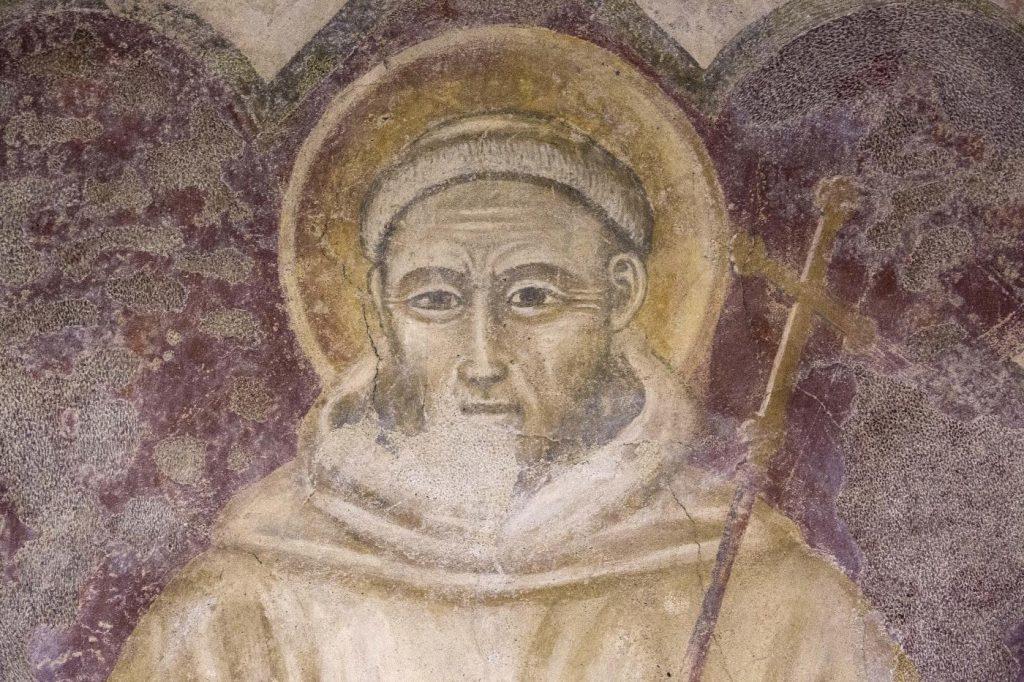 """San Francesco"" - autore sconosciuto – affresco (sec. XIV, circa), dettaglio"